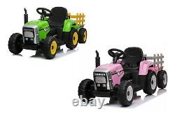 12v Kids Electric Ride On Tractor With Trailer & Parental Remote Control