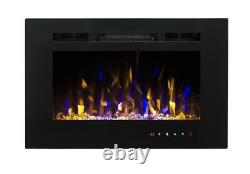 2020 26 Inch Wide Led Flames Black Glass Truflame Wall Mounted Electric Fire