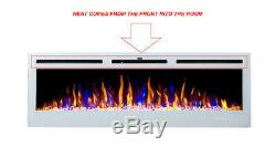 2020 50 Inch Inset Led Flames White Glass Truflame Wall Mounted Electric Fire