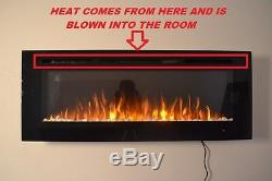 2020 50 Inch Wide Led Flames Black Glass Truflame Wall Mounted Electric Fire