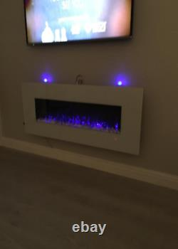 2020 50 Inch Wide Led Flames White Glass Truflame Wall Mounted Electric Fire