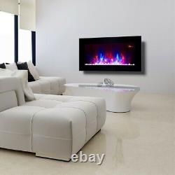 2021 7 Colour Led Truflame Flat Wall Mounted Electric Fire And 7colour Side Leds