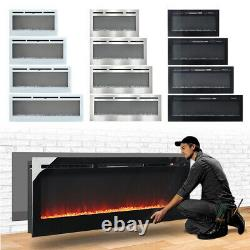 2021 Electric Wall Mounted LED Fireplace 12 Color Wall Inset Into Fire 40 50 60