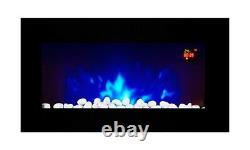 2021 Truflame 7 Colour Led Black Glass Flat Electric Wall Mounted Fire