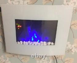 2021 Truflame 7 Colour Led White Glass Arched Electric Wall Mounted Fire 66cm