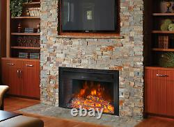 26 Insert Electric Firebox Fireplace Heater Flat Glass Panel Timer with Remote