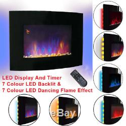 2KW LED Curved Glass Electric Fireplace Wall Mounted Fire Place + Remote