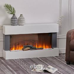 34 405060 Fireplace Wall Mounted LED Flame White Mantel Electric Insert Fire