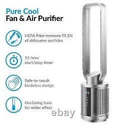 38 inch Quiet Pure Cool Bladeless HEPA Purifying Tower Fan with Remote Control
