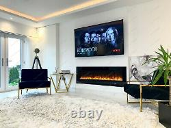 3 Large Sizes LED White Black Wall Recessed Insert Wide Electric Fire 2020