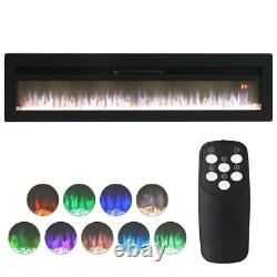 40/50/60 Inch Led Electric Fire Insert Wall Mounted Fireplace With Crystal &legs