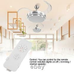 42'' Ceiling Fan Light LED Dimmable Retractable Blade Lamp Remote Control Timer