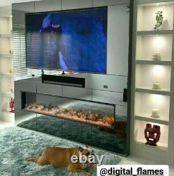 50 60 INCH LED DIGITAL FLAMES NEW THIN BORDER 2.5cm INSET ELECTRIC FIRE 2021