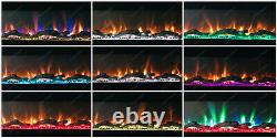 50/60 Inch 10 COLOUR LED White Black Wall Mounted Flushed Wide Electric Fire