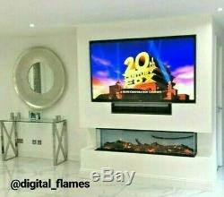 50 60 Inch Stunning Panoramic Insert Electric Fire 3 Sided Full Glass Fish Tank