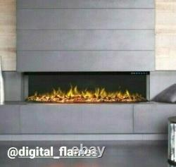 50 60 Inch Stunning Panoramic Inset Electric Fire 3 Sided Full Glass Fish Tank