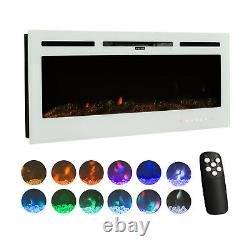 50'' Electric Fireplace LED Adjustable 12 Flame Wall Mounted Heater Log 1800W
