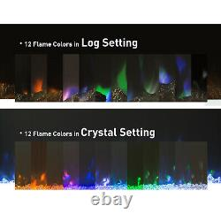 50 Electric LED Fireplace Wall Inset Fire Wall Mounted Heater 12 Flame withRemote