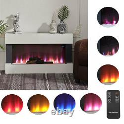 50 In Led Flame Glass Fireplace White Mantel Electric Fire &downlight Wall Mount