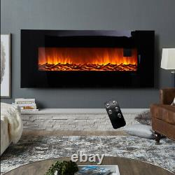 50 Inch Electric Flat Glass Fireplace Wall Mounted Fire Flame Heater with Remote
