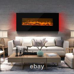 50 Inch Fireplace Wall Mounted Electric Fire Black Flat Glass + Remote Control