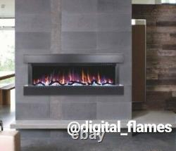 50 Inch Led Digital Flames White Mantel 3 Sided Glass Wall Mounted Electric Fire