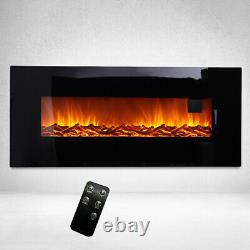 50 Inch Wall Mounted Electric Fireplace Led Screen Flame Fire Heater With Remote