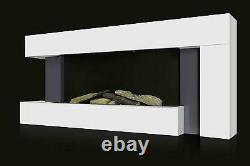 50 Large LED Modern Fireplace Electric Heater Fire High Gloss glass Slim Flame