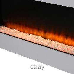 50 Wide Glass Wall Mounted Electric Fire Led Flames Fireplace With White Mantel