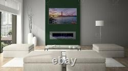 50 or 60 Inch White Black Grey Wall Mounted Flush Electric Fire Stunning Feature