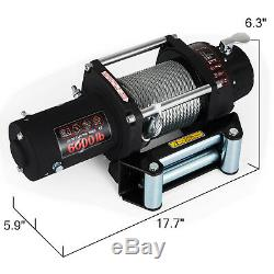 6000LBS 12V Recovery Electric Winch Series Wound Gear Train Remote Control
