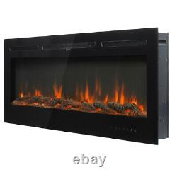 60 50 40 Electric Fire Insert/Wall Mounted Recess Fireplace Remote Logs Crystal