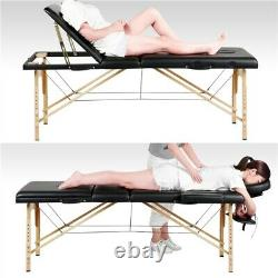Black Massage Table Portable Beauty Bed Salon Couch Bed Wooden Legs 3 Sections