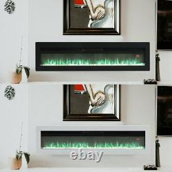Electric 40 50 60 Wall Fireplace LED Wall Inset Into Fire with Freestanding Leg