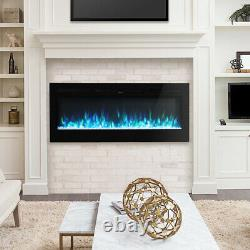 Electric 50 Inch Digital Flame Fire Wall / Recessed Insert Fireplace Thin Border