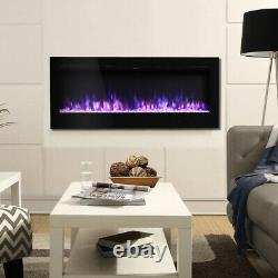 Electric Fire Fireplace 40 Inch in-Wall & Wall Mounted 9 LED Flame Heater Remote