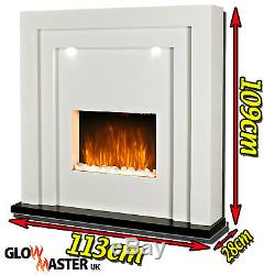 Electric Fire Fireplace Led Lights Free Standing White Inset Heater Mantelpiece