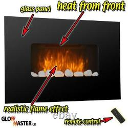 Electric Fire Fireplace Wall Mounted Black Glass Slimline Remote Control Heater