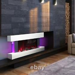 Electric Fire Large LED Fireplace Wall Mounted White Suite MDF Surround Heater