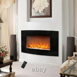 Electric Fireplace 35 Wall Mounted Inserts Pebble LED Fire Flame Heater Curved