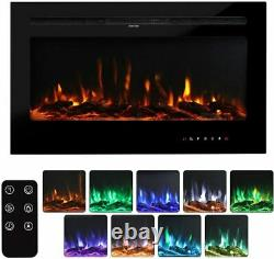 Electric Fireplace Insert Wall Mount Heater Mount Adjustable Flame 42Inch Black