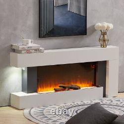 Electric Fireplace Wall-Mounted Fire Suite LED Log Flames with Down Light 50inch