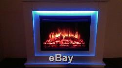 Endeavour Fires Castleton Electric Fireplace in an Off White MDF fire suite