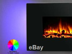 Endeavour Fires Egton Wall Mounted Electric Fire, Black Curved Glass