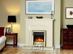 Endeavour Fires Roxby Inset Electric Fire, Brass Trim and Fret, Remote control
