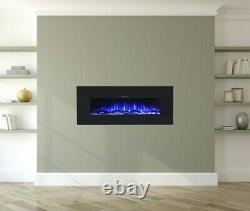 Ezee Glow Zara Black Wall Mounted or Recessed / Built In Electric Fire