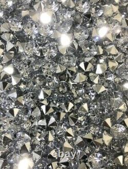 Fireplace Wall Hung Crushed Diamond Mirrored Glass Sparkly 130x20x55cm