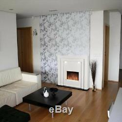 Free Standing Electric Fireplace Fire Led Lights White Mantelpiece Inset Heater