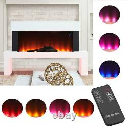 Free Standing Electric Fireplace LED Flame Glass Heater Fire Suite withRemote WIFI