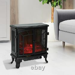 HOMCOM Freestanding Electric Fireplace Heater with LED Flame Effect Remote Control